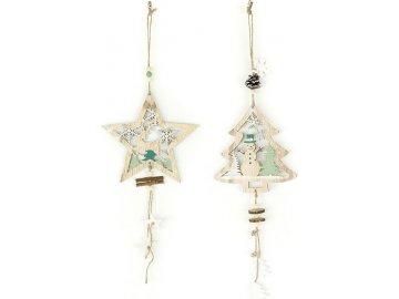 Hvězdička nebo stromeček, vánoční dřevěná závěsná dekorace