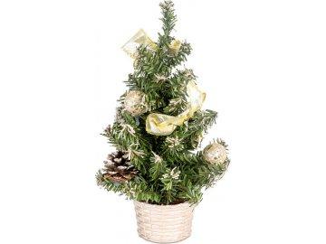 Stromeček ozdobený, umělá vánoční dekorace, barva zlatá