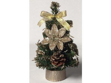 Stromeček ozdobený, umělá vánoční dekorace, barva měděná