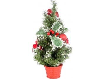 Stromeček ozdobený, umělá vánoční dekorace, barva červeno-bílá