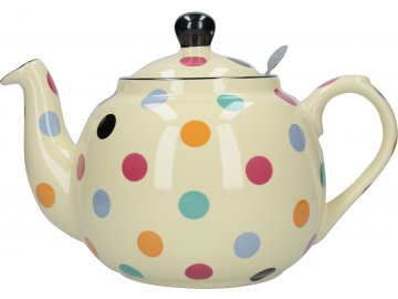Krémová čajová konev s barevnými puntíky London Pottery