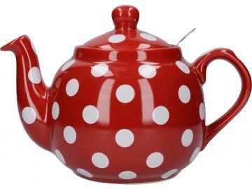 Červená čajová konev s bílými puntíky London Pottery