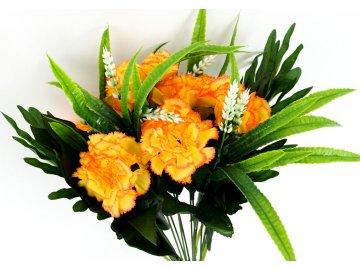 Karafiáty, puget, barva žlutooranžová. Květina umělá.