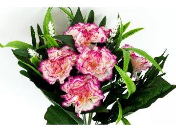 Karafiáty, puget, barva fialovobílá. Květina umělá.