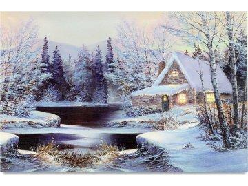 Obraz nástěnná svítící dekorace -  s LED vlákny, zimní motiv
