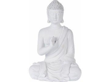 Buddha sedící se vztyčenou rukou, bílý
