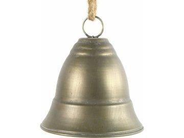 Kovový zvonek zlatý s patinou L
