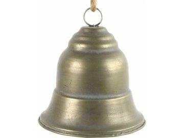 Kovový zvonek zlatý s patinou XL