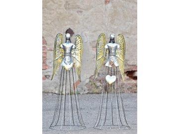 Plechový anděl Noel šampaň 91 cm