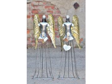 Plechový anděl  Noel  šampaň  82 cm