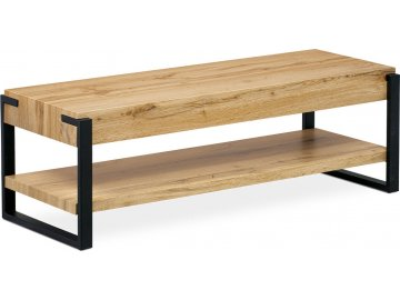 TV stolek 120x44x40 cm, MDF dekor divoký dub tloušťka 100 mm, nohy kov černý mat.