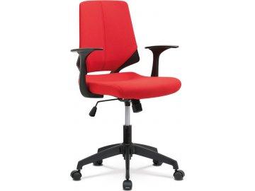 Kancelářská židle, červená látka, černé PP područky