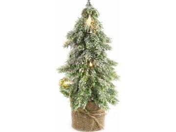 Umělý stromeček zasněžený s LED světýlky 36 cm
