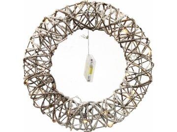 Proutěný LED věnec 30 cm bílý