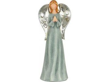 Anděl, modrá barva, magneziová keramika dekorační