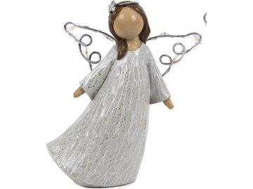 Anděl se svíticími LED křídly, barva šedá, polyresinová dekorace