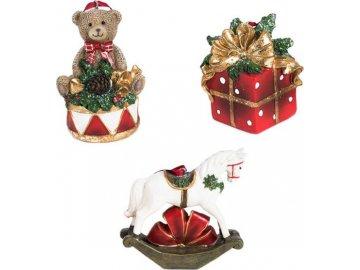 Dekorace z polyresinu na pověšení, koník nebo medvídek nebo dárek, cena za 1 kus