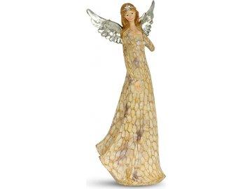 Anděl - stříbrná křídla, dekorace z polyresinu