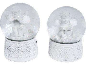 Anděl, sněžítko, polyresinová vánoční dekorace, mix 2 druhů, cena za 1 kus