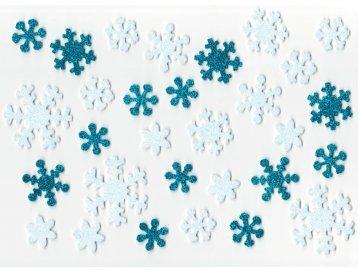 Samolepicí dekorační glitrové vločky z EVA pěny 30ks 2-4cm