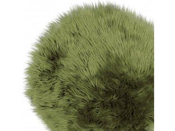 Chlupatý koberec s vysokým chlupem olejově zelený