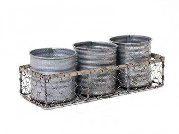 EGO 700524; drátěný košíček hranatý se třemi kalíšky, ze sady 3 kusů