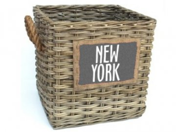 ZVL 902385; hranatý proutěný koš NEW YORK, se dvěma uchy