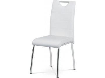 Jídelní židle - bílá ekokůže, kovová chromovaná podnož