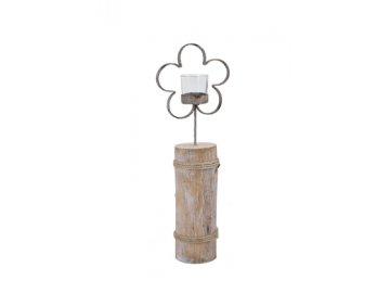 EGO 611996; svícen květina na špalku, antik, 144x39x8cm