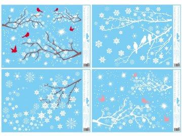 Vánoční samolepky na okno větve sada 4ks