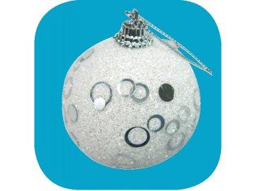 Vánoční ozdoba bílá baňka 6cm kroužky