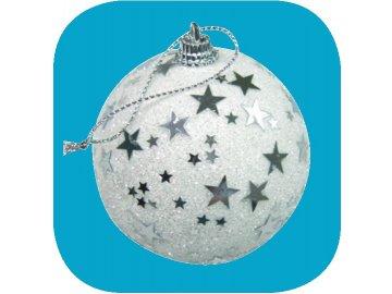 Vánoční ozdoba bílá baňka 6cm hvězdičky