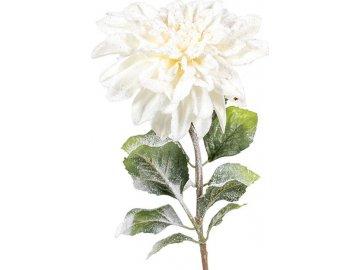 Jiřinka, barva bílá ojíněná. Květina umělá.