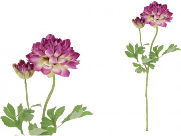 Jiřinka s poupětem, barva fialová. Květina umělá.