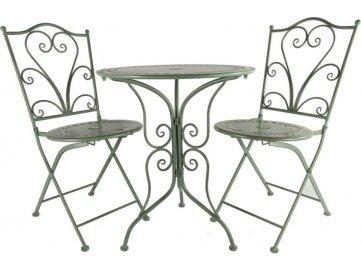 Kovový stůl a židle Provence zelená