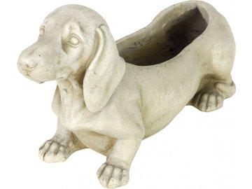 Květináč  mrazuvzdorný, tvar psa, barva světle béžová