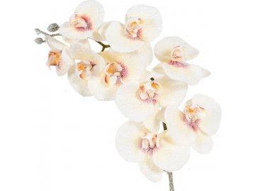 Orchidej, barva bílá ojíněná. Květina umělá.