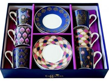 Porcelánové šálky a podšálky na kávu Peacock