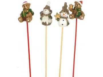 Medvídek nebo sněhuláček - zápich, dekorace z polyresinu, cena za 1 box ( 24 kusů )