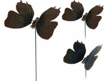 Zápich - motýl, mix barev, 60 cm