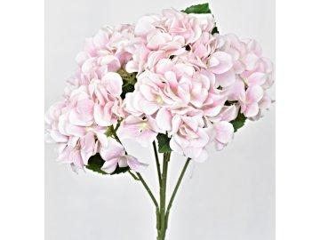 Umělá kytice hortenzií 45 cm, světle růžová