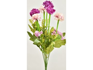 Kytička Tagetesu s přízdobou, růžovo-fialová, 36 cm