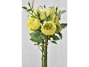 Umělá kytice růží, žluto-zelená, 50 cm