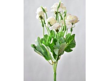 Umělá kytička karafiátů 34 cm, bílá