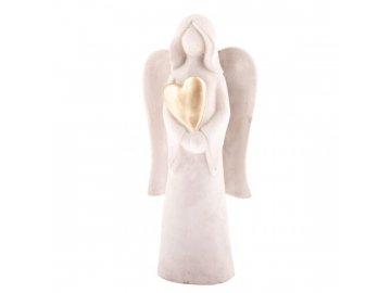 Anděl držící zlaté srdce