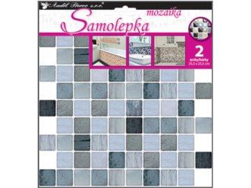 Samolepka na zeď mozaika plastická imitace obkladů velké čtverce sada 2ks