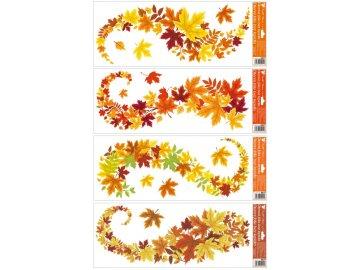 Okenní fólie Vlnky listí pruhy 60x22cm Sada 4ks