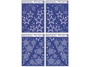 Okenní fólie rohová Hvězdy s glitry 38x30cm Sada 4ks