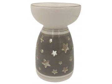 Aromalampa keramická šedá s hvězdičkami 16cm
