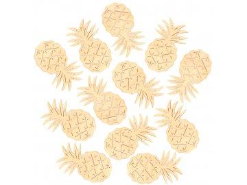 Ananans dřevěný žlutý 4cm SADA 6ks